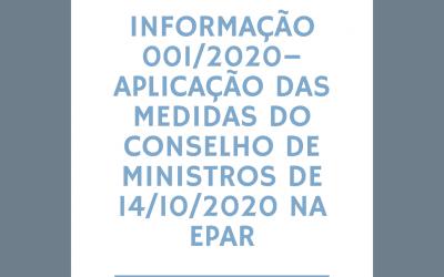 INFORMAÇÃO 001/2020 – APLICAÇÃO DAS MEDIDAS DO CONSELHO DE MINISTROS DE 14/10/2020